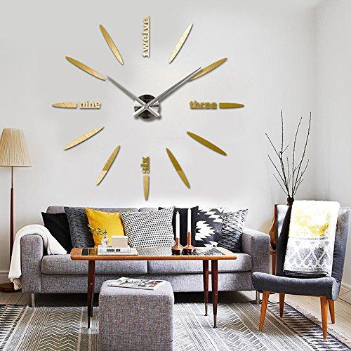 Adarl wall clock living room diy 3d home decor mirror Living room decoration amazon