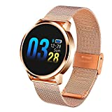 Adsvtech Smart Watch, Bluetooth Smartwatch for Women Men, Sports Fitness Tracker IP67 Waterproof with Heart Rate Blood Pressure Sleep Monitor Calorie Counter Pedometer for Smartphone (Gold)