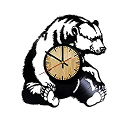 ForLovedGifts Grizzly Bear Design Vinyl Wall Clock - Handmade Gift for Any Occasion - Unique Birthday, Wedding, Anniversary, Wall décor Ideas for Any Space