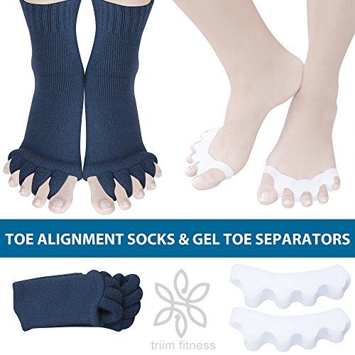 Toe Separator Yoga Gym Sports Massage Socks for Foot Alignment, Great for Sore Feet and Diabetics by TRiiM Fitness with FREE Exercise guide! (Gray-ToeS)