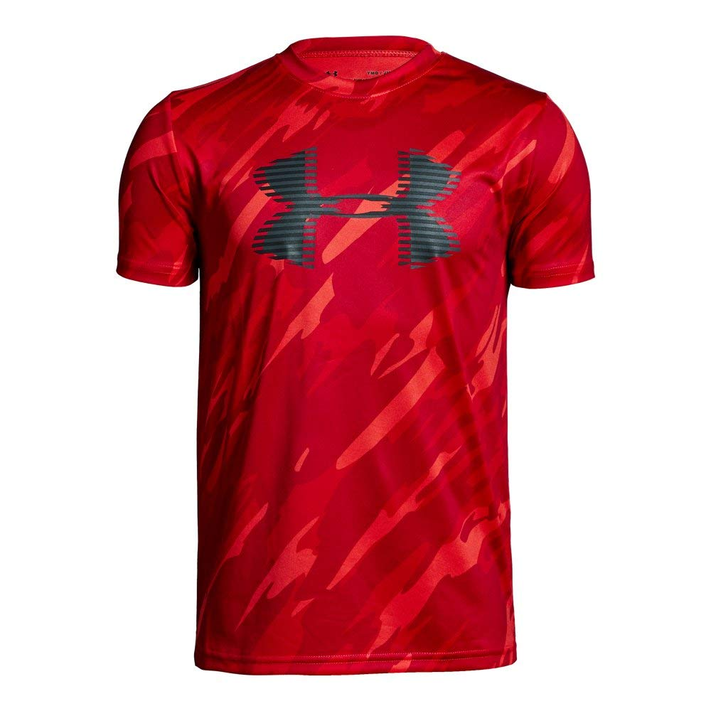 Under Armour Boys' Tech Big Logo Printed T-Shirt, Radio Red (890)/Charcoal, Youth X-Small