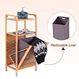 Giantex Laundry Hamper Bamboo Freestanding W/Shelf