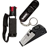 College Safety Bundle: Sabre Runner Jogger Pepper Spray, Sabre Personal Alarm and a Door Alarm - Lot of 3 as Shown (SABRE Black Personal Alarm)