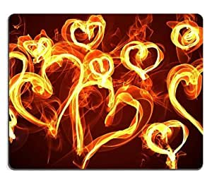 Flaming Hearts of Love Mouse Pads Customized Made to Order Support Ready 9 7/8 Inch (250mm) X 7 7/8 Inch (200mm) X 1/16 Inch (2mm) High Quality Eco Friendly Cloth with Neoprene Rubber Liil Mouse Pad Desktop Mousepad Laptop Mousepads Comfortable Computer Mouse Mat Cute Gaming Mouse_pad