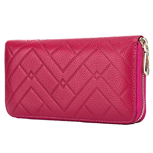 Price comparison product image Women's Wallet Fashion Genuine Leather Zip Long Handbag Phone Purse(Rose Red)