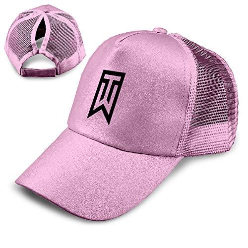 Lkbihl Tiger Woods Logo Sequined Ponytail Baseball Cap High Bun Glitter with Mesh Trucker Hat Adjustable ()