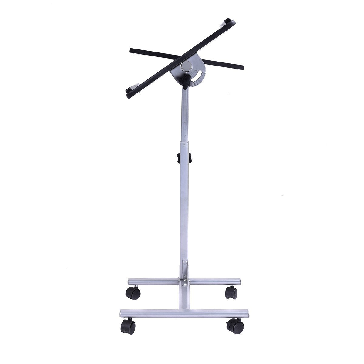 GHP 23.6''x15.7''x23.6''-35.4'' Black Table Adjustable Height Rolling Laptop Desk Stand