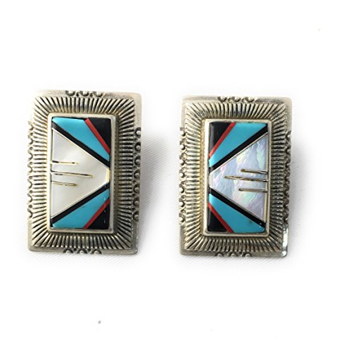 (Christmas Sale! Sterling Silver Earings By Masha ! Black White MOP Turquoise Inlay, Made in USA - Exclusive Southwestern Handmade Jewelry, Wedding Gift - ship within 24 hours)