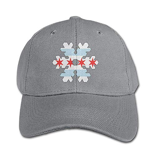 (Chicago Flag Snowflakes Boy and Girl Adjustable Snapback Curved Visor Washed Dyed Cotton Ball Hat Toddler Trucker Cap)