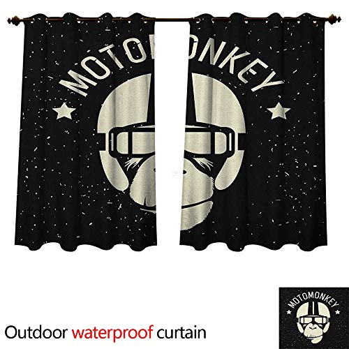 Anshesix Outer Space Home Patio Outdoor Curtain Sign Alien Monkey with Astronaut Costume in a Galaxy with Stars Poster W96 x L72(245cm x -