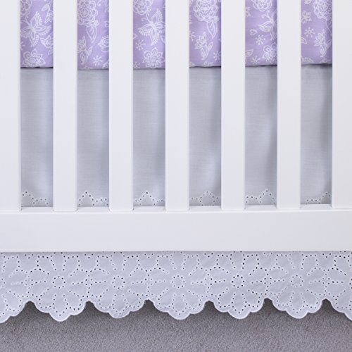 White Dust Eyelet Ruffle - NoJo Eyelet/Lace Crib Skirt/Dust Ruffle, White, 18