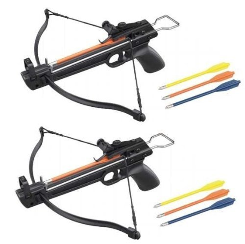 Cross Pistol (2 Pack 50 Lb Crossbow Gun Pistol Hand Held Archery Hunting Cross Bow w/ Arrows)