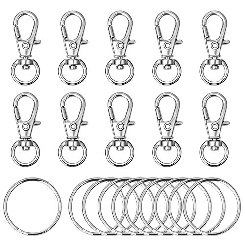 Awpeye 120PCS Swivel Lanyard Snap Hook, Metal Lobster Clasp with Key Rings Bulk