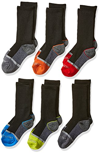 Fruit of the Loom Little Boys' 6-Pair Half Cushion Crew Socks, Black Assort, Shoe Size: 9–2.5 (Medium)