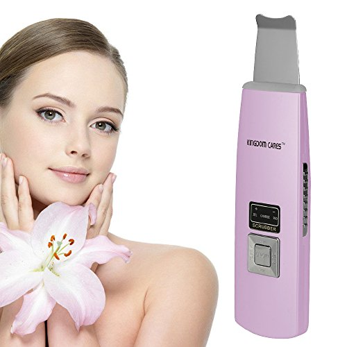 KINGDOMCARES Valentines Day Gifts Ultrasonic Cordless Skin Scrubber Rechargeable Exfoliation Vibration Anti-Age Ionic Function Face Cleaner SPA Portable Gentle Peel Dermabrasion Rejuvenation (Day Of The Dead Female Makeup Kit)