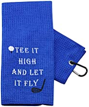PXTIDY Funny Golf Towels for Men Golf Beginners Gift Golf Quotes Gift Tee It High and Let It Fly Embroidered G