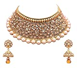 YouBella Gold Plated Alloy Necklace with Earrings For Women