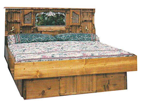 Waterbeds Pine (Strobel Organic Hartford Complete Waterbed Premium Solid White Pine Oak Finish Queen)
