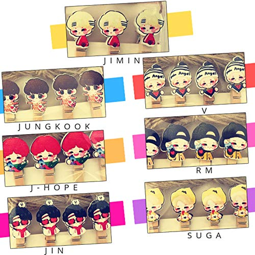 eKoi KPOP BTS Bangtan Boys Cartoon Character Wooden Paper Photo Peg Craft Clips Hemp Rope Pack for Hanging LOMO Photocard Greeting PostCard Decor (7 Set Army Fans Gift Collectables)