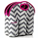Neoprene 6 Pack Bottle Carrier, Extra Thick Insulated Baby Bottle Cooler Bag Keeps Baby Bottles Cold or Warm Great as Baby Shower Gift (gray chevron pink trim)