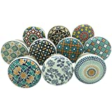 SHWetail Positive Energy Vintage Shabby Chic Cupboard Drawer Ceramic Door Knobs Pull Handles (Multicolour) 40mm- Pack of 10