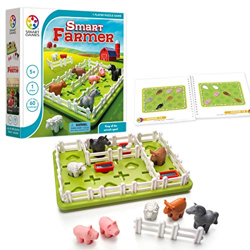 SmartGames Smart Farmer Board Game, a Fun, STEM Focused Cognitive Skill-Building Brain Game and Puzzle Game for Ages 5 and -