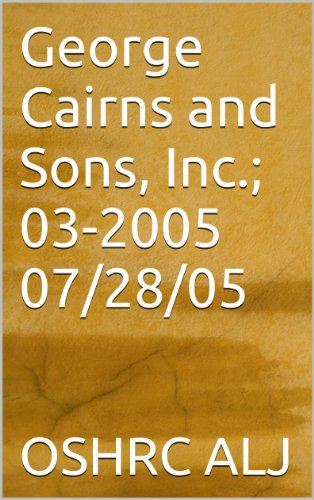 George Cairns and Sons, Inc.; 03-2005/07/28/05
