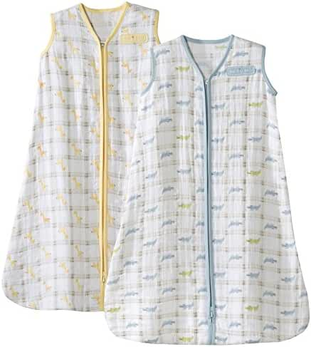 Halo SleepSack Medium Wearable Blanket 100% Cotton Muslin, 2 Pack - Giraffe/Alligator