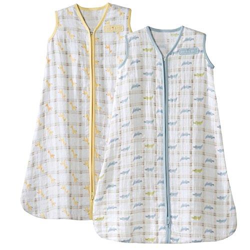 Halo SleepSack Medium Wearable Blanket 100% Cotton Muslin, 2 Pack - Giraffe/Alligator by Halo