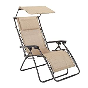Brylanehome Zero Gravity Chair With Pillow And Canopy (Taupe,0)