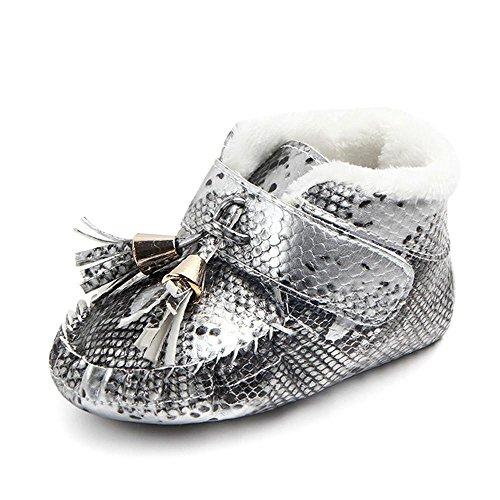 Clode® Neugeborenen Baby Quaste Warme Sneaker Anti-slip Weiche Sohle Kleinkind Schuhe Grau
