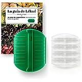 Lékué Kit Estuche de Vapor con Libro y Bandeja, Silicona, Verde Esmeralda, 3-4 personas