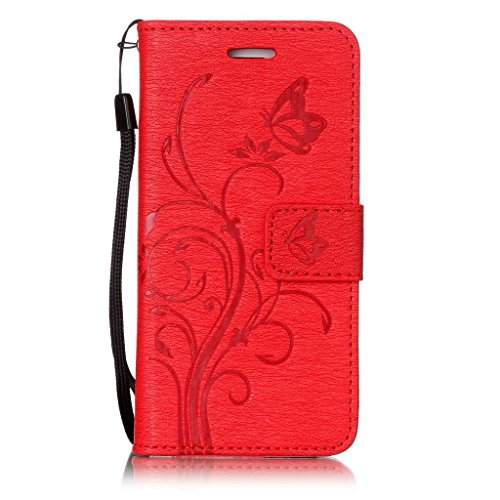 """iPhone 7 Hülle Tasche Schutzhülle Case Cover Bumper Geldbeutel und Anti-Scratch Löschen Back für Apple iPhone 7 4.7"""" Rot"""