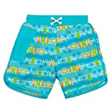 i play. Baby Toddler Boys' Pocket Board Shorts w/Built-in Reusable Absorbent Swim Diaper, Aqua Surfboard Sunset, 2T