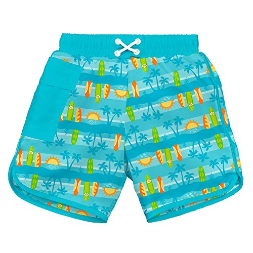 i play. Baby Boys Pocket Board Shorts w/Built-in Reusable Absorbent Swim Diaper, Aqua Surfboard Sunset, ()