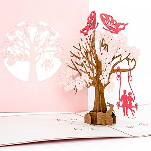 'Pop tarjeta de Up Mariposas en Love–3D Tarjeta de boda, Amor, tarjeta de invitación de bodas, Compromiso, San Valentín, Pareja en columpio, tarjeta de cumpleaños Cologne Cards | Pop-Up Karten
