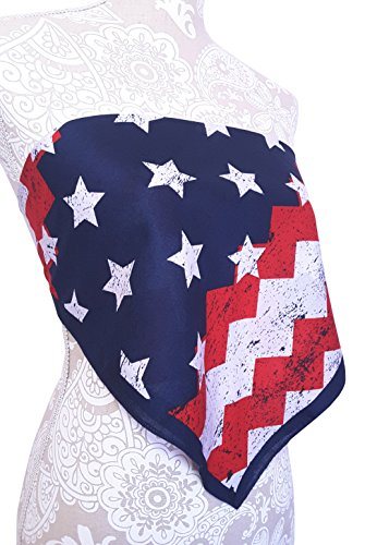 American Flag Bandana Crop Top Shirt - USA America 4th of July - Womens Clothing