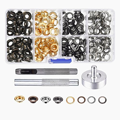 - KingWo 200 Set Grommets Grommet Tools For Canvas Clothes Leather 6mm With Buckle Tool