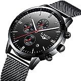 Affute Luxury Business Mens Analog Quartz Watches Chronograph Waterproof Stainless Steel Mesh Band,Black