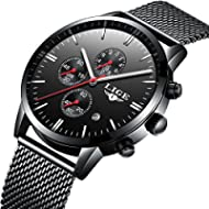 Affute Luxury Business Mens Analog Quartz Watches Chronograph Waterproof Stainless Steel Mesh...