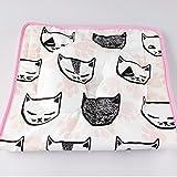 KAKIBLIN Portable 2-in-1 Baby Diaper Pad Flat Head Baby Pillow Pink Cat