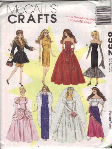 McCall's Crafts Sewing Pattern 8552 Fashion Doll Clothes for 11-1/2