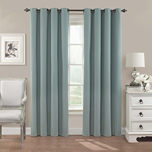 Eclipse Nadya Solid Blackout Window Curtain Panel, 84-Inch, Smokey Blue