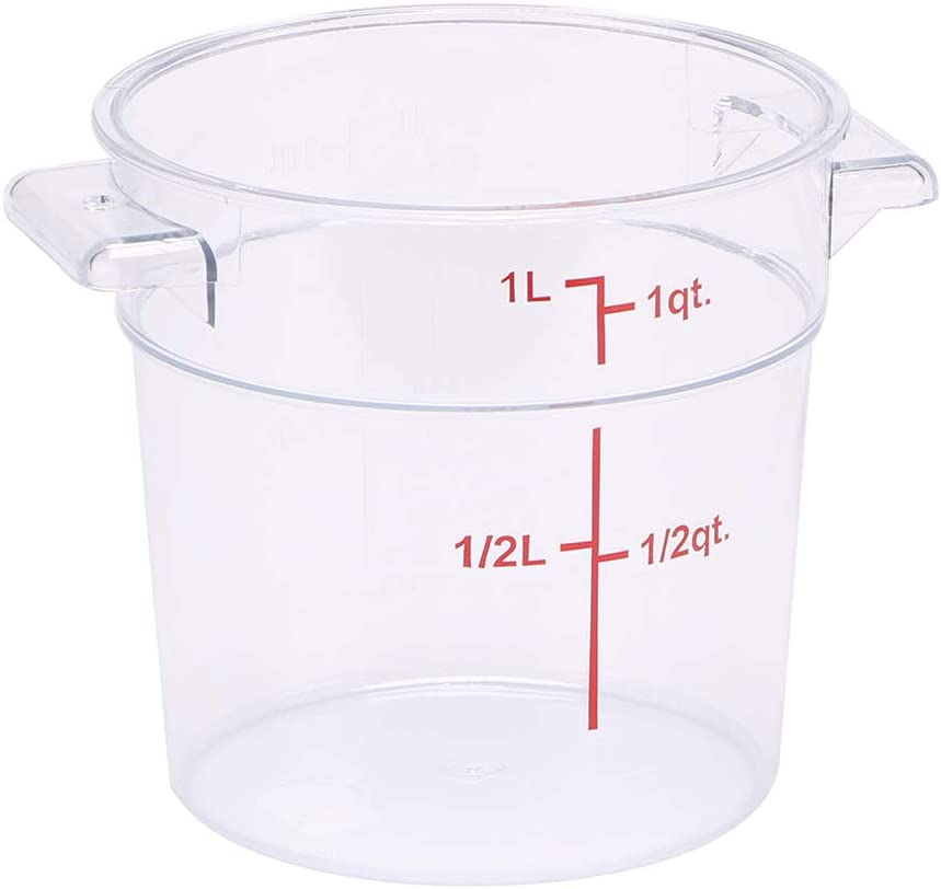 Met Lux 1 Quart Food Storage Container, 1 Round Commercial Storage Container - Lid Sold Separately, With Volume Markers, Clear Plastic Food Prep Bucket, Space-Saving Storage - Restaurantware