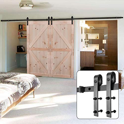 U-MAX 13 FT Double Door Sliding Barn Door Hardware Kit - Heavy Duty, Smoothly and Quietly -Simple and Easy to Install - Fit 30