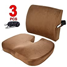 Qutool Orthopedic Memory Foam Seat Cushion and Lumbar Support Back Pillow for Lower Back Tailbone and Sciatica Relief Office Chair and Car Seat Cushion Set with Premium Adjustable Strap (Coffee)