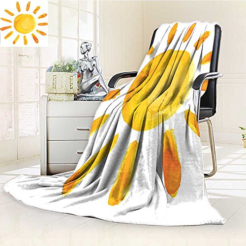 (YOYI-HOME Silky Soft Plush Warm Duplex Printed Blanket Grunge Sun Childish Watercolor Brush Painting Style Kids Decor Playroom Picture Yellow Anti-Static,2 Ply Thick,Hypoallergenic/W47 x H69)