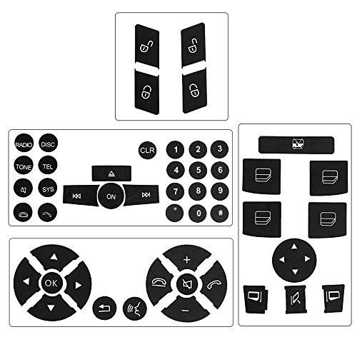 (Steering Wheel & Window Switch & Door Lock Switch & Radio Button Stickers for 2008-2014 Mercedes Benz W204 C250 C300 C350)