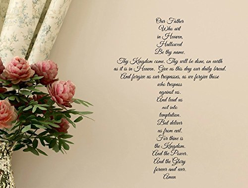 The Lord's Prayer Cross Wall Decal, Our Father Who Art in Heaven, 23