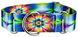 Country Brook Design 1 1/2 Inch Tie Dye Flowers Martingale Dog Collar - Large